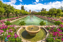 Alcazar de los Reyes Cristianos. The popular gardens with fountains of Alcazar de los Reyes Cristianos, a medieval building and popular tourist attraction Royalty Free Stock Image
