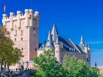 Alcazar de Segovia. Castle view from the side in the fall stock photo