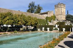 Garten des Alcazar-Palastes in Cordoba, Spanien Lizenzfreie Stockfotos