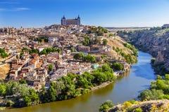 Alcazar-Festungs-mittelalterliche Stadt der Tajo Toledo Spain Stockbild