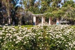 Alcazar Garden in Balboa Park. SAN DIEGO, CALIFORNIA - APRIL 28, 2017:  The Alcazar Garden in Balboa Park, a formal garden inspired by the Alcazar Castle gardens Stock Images