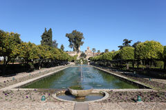 Alcazar gardens in Cordoba, Spain. Alcazar palace gardens and fountains in Cordoba, Andalusia Spain Stock Images