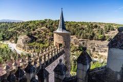 Alcazar i Segovia Spanien Arkivbilder