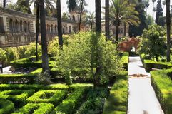 Alcazar-königliche Gärten + Galeria de Grutescos, Sevilla, Andalusien, Spanien Lizenzfreie Stockfotografie