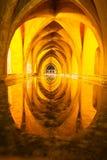 Alcazar królowej skąpanie, frontowy widok Seville, Andalusia, Hiszpania Zdjęcia Stock