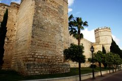 The Alcazar moorish fortress wall, Jerez Stock Image