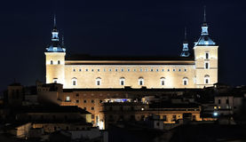 Alcazar and old part of Toledo at night, Spain Royalty Free Stock Images