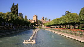 Alcazar palace gardens and fountains in Cordoba, Andalusia Spain stock video footage
