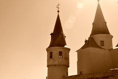 Alcazar of Segovia. Detail of the slate spires of the Alcazar of Segovia, Spain Royalty Free Stock Image