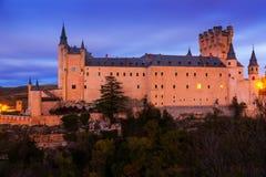 Alcazar of Segovia in  twilight Royalty Free Stock Photo
