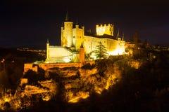 Alcazar von Segovia in der Nacht Stockfotografie