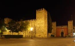 Alcazar von Sevilla nachts. Spanien Lizenzfreies Stockbild