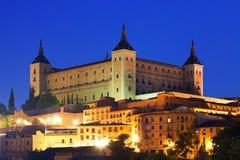 Alcazar von Toledo in der Nacht Stockbilder