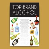Alccohol banner wine list template for bar or restaurant menu design vector illustration. Creative artistic top brand stock illustration