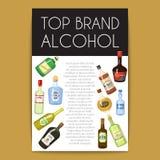Alccohol-Fahnen-Weinlistenschablone für Bar- oder Restaurantmenüentwurfsvektorillustration Kreative künstlerische Spitzenmarke stock abbildung
