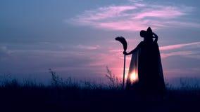 Alce a una bruja con la escoba que se coloca en la colina que iguala el horizonte Halloween almacen de metraje de vídeo
