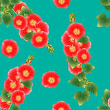 Alcea Rosea - roses trémière, Aoi de rouge orange sur Teal Background vert Illustration de vecteur Illustration Stock