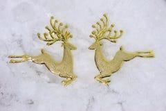 Alces del reno del oro del tiempo de la Navidad Imágenes de archivo libres de regalías