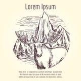 Alces dibujados mano en paisaje de la montaña stock de ilustración