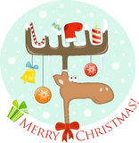 Alces divertidos con la decoración de la Navidad en las cornamentas libre illustration