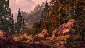 Alces en las montañas rocosas stock de ilustración