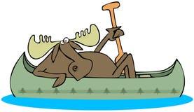 Alces que remam uma canoa ilustração stock