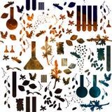 Alchemia lub pachnidło bezszwowy wzór Substancja chemiczna wzór średniowieczna szkoła akwarela na białym tle Obrazy Royalty Free