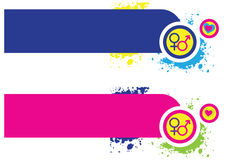 Alchemical Banners. Two horizontal banners with a male and female theme, containing the alchemical symbols for a man and a woman in pink and blue with small Royalty Free Stock Photography