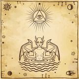 Alchemical drawing: the little demon is born from water. Esoteric, mystic, occultism. Symbols of the sun and moon. Background - imitation of old paper. Vector vector illustration