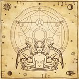 Alchemical drawing: little demon, circle of a homunculus. Esoteric, mystic, occultism. Symbols of the sun and moon. Background - imitation of old paper. Vector stock illustration