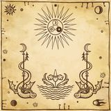 Alchemical drawing: winged snakes, all-seeing eye. Esoteric, mystic, occultism. Symbols of the sun and moon. Background - imitation of old paper. Vector royalty free illustration