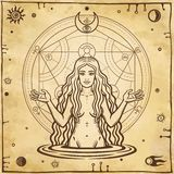 Alchemical drawing: young beautiful woman, Eve`s image, fertility, temptation. Esoteric, mystic, occultism. Symbols of the sun and moon. Background - imitation stock illustration
