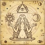 Alchemical drawing: young beautiful woman, Eve`s image, fertility, temptation. Esoteric, mystic, occultism. Symbols of the sun and moon. Background - imitation Royalty Free Stock Photo
