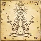 Alchemical drawing: young beautiful woman holds moons in hand. Esoteric, mystic, occultism. Symbols of the sun and moon. Background - imitation of old paper vector illustration