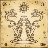 Alchemical drawing: young beautiful woman holds winged snakes in hand. Esoteric, mystic, occultism. Symbols of the sun and moon. Background - imitation of old stock illustration