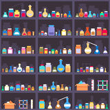 Alchemical elixirs or chemicals and medications on. Cabinet shelves. Seamless background. Shop and container, assortment choice, warehouse and box. Vector royalty free illustration
