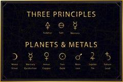 Free Alchemical Golden Symbols Set On Dark Background. Three Principles Of Alchemy - Sulphur, Salt, Mercury. Planets And Royalty Free Stock Image - 174692336