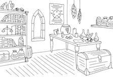 Alchemical laborancki graficzny czarny biały wewnętrzny nakreślenie ilustraci wektor Zdjęcia Royalty Free