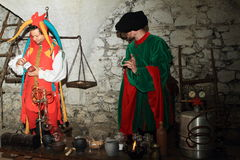 Alchemical laboratory. With alchemist and clown during Night performance Comeback of Puta on castle Svihov (Czech Republic, the 22th of June 2015 Royalty Free Stock Photography
