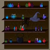 Alchemical potion on the old wooden shelfs. Alchemical potions. different magic potions on the shelf. Spider on the web vector illustration