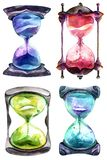 Alchemical sand hourglass. Set, time symbol, white background, watercolor painting vector illustration