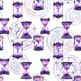 Alchemical sand hourglass and transmutation circles pattern vector illustration