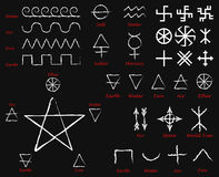 Alchemical Signs. Slavic amulets symbols. Solar symbols. Swastika. Thunderous sign. Kolovrat and Crosses. Mega Set. Vector illustr Royalty Free Stock Photography