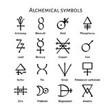 Alchemical Symbols. Collection of various alchemical symbols, illustration stock illustration