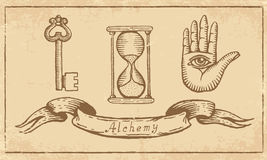 Alchemical Symbols. Magic alchemical Symbols in old yellow paper Royalty Free Stock Images