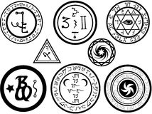 Alchemical Symbols and Magickal Sigils. Various alchemy symbols and magickal sigilia or seals in vector format stock illustration