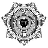 Alchemical symbolväxelverkan Sheme - utforma för vektorillustration royaltyfri illustrationer