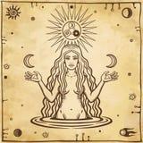 Alchemical teckning: den unga härliga kvinnan rymmer månar i hand vektor illustrationer