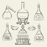 Alchemical vessels or vintage lab equipment royalty free illustration