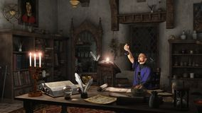 Alchemist in his Study. Alchemist working in his study surrounded by books, potions and instruments, 3d digitally rendered illustration Stock Photography